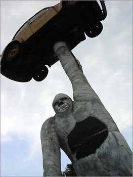 Giant Gorilla Holding a VW Beetle - Salisbury, Vermont