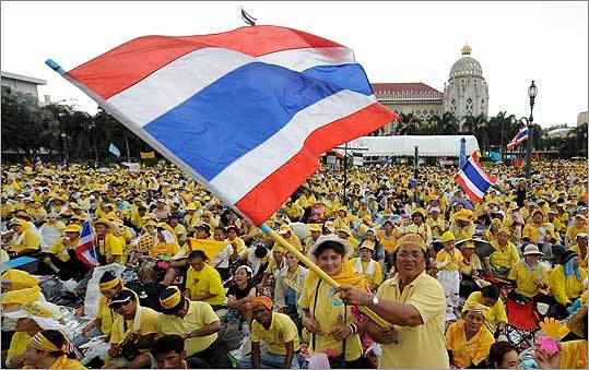 Antigovernment demonstrators during a protest in Bangkok in August.