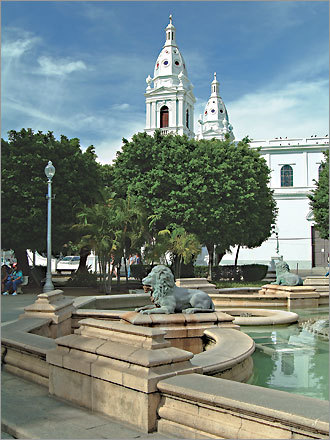 The Plaza Ponce in the historical region of Ponce, Puerto Rico's second-largest city.