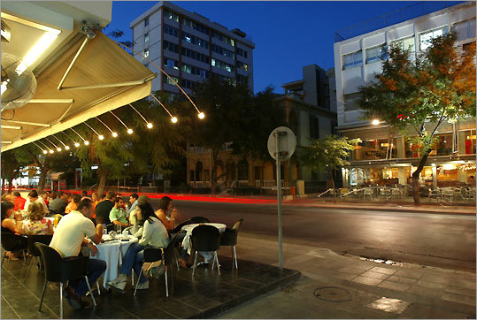 Archbishop Makarios Avenue in southern Nicosia near the Old City is full of restaurants and cafes.