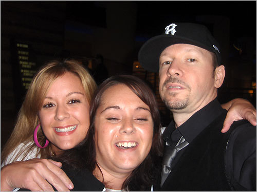 Nicole Aubin-Carville and Crystal Sposato-Lachance of Worcester ran into Donnie Wahlberg.