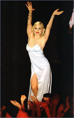Madonna dances to the live audience at the Webster Hall nightclub in New York in 1995