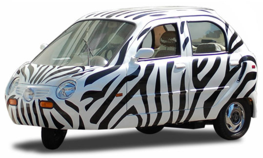 ZAP's Xebra Xero sedan, shown in Zebra Flash paint, starts at $11,700.