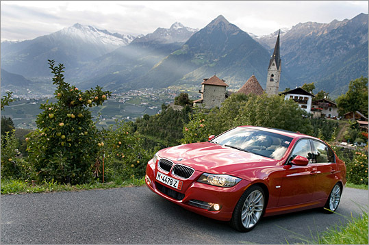 That's quite a view of the Austrian Alps, and of the BMW 335d sedan too. The 3.0-liter twin-turbo diesel radically alters the gestalt of the 3 Series.