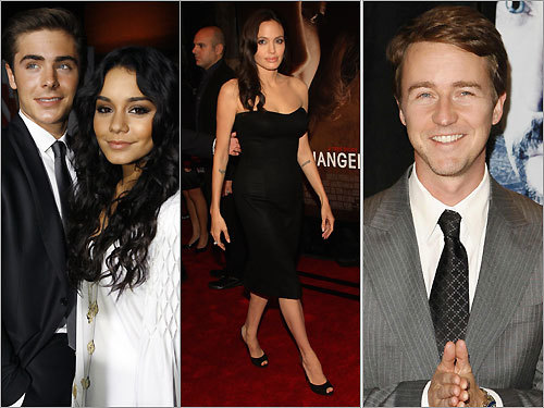 Zac Efron and Vanessa Hudgens; Angelina Jolie; Edward Norton
