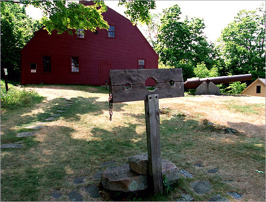 The Old Gaol in York, Maine, with stocks for public punishment, dates to 1719. Get permission before your ghost hunt: The deserted Ramtail Factory in Foster, R.I., is on private property.