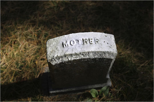 A gravestone in the burial ground at the Rebecca Nurse Homestead in Danvers.
