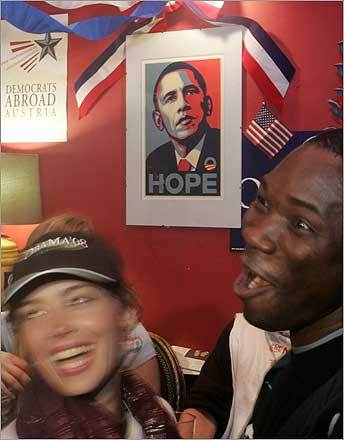 Vienna Supporters of Obama held an early celebration for the candidate. Democrats Abroad, the overseas branch of the US Democratic Party, was holding gatherings worldwide to follow the voting results in the United States.