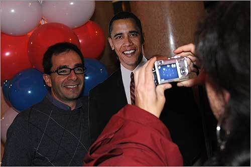 Even before Barack Obama's presidential victory was declared, heavy celebrations for Obama broke out around the world. Milan A supporter of Democratic presidential nominee Barack Obama posed next to a cardboard portrait of the Democrat candidate during the US election night at 'Le Banque.'