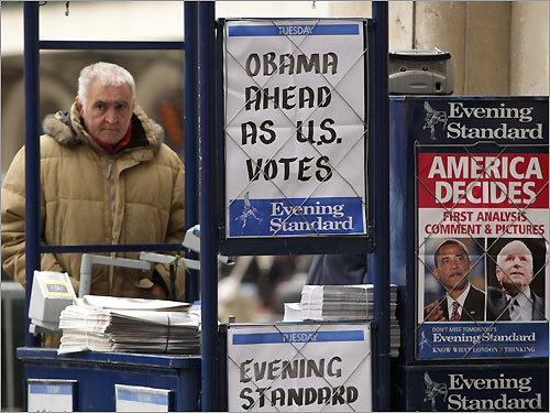 London Newspaper vendor stands reported on the election in London.