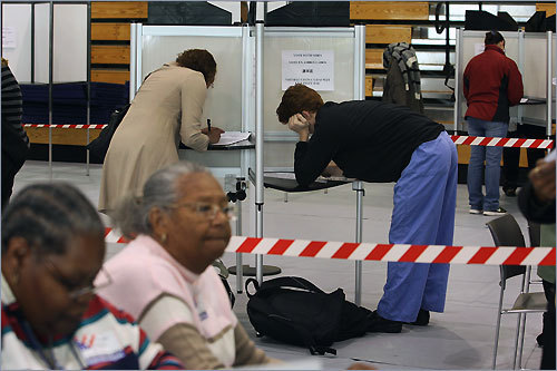 Voters marked their ballots at Cathedral High School in the South End.
