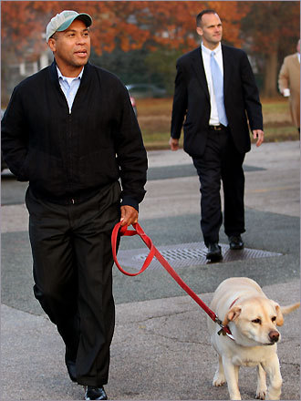 Governor Deval Patrick arrived to vote at Milton's Precinct 2 in St. Mary of the Hills School.