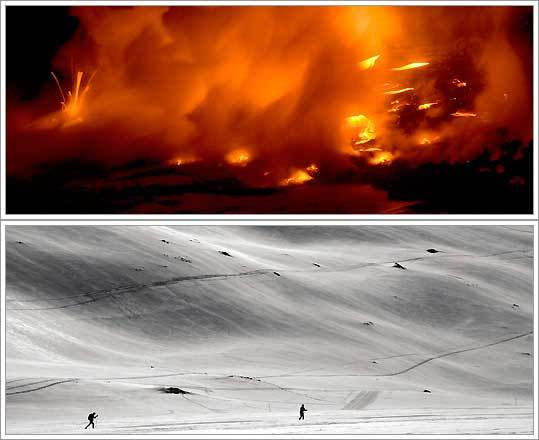 Lava hits the Pacific Ocean from the Kilauea volcano in Hawaii; skiers on a frozen swath of Gemmi Pass in Switzerland.