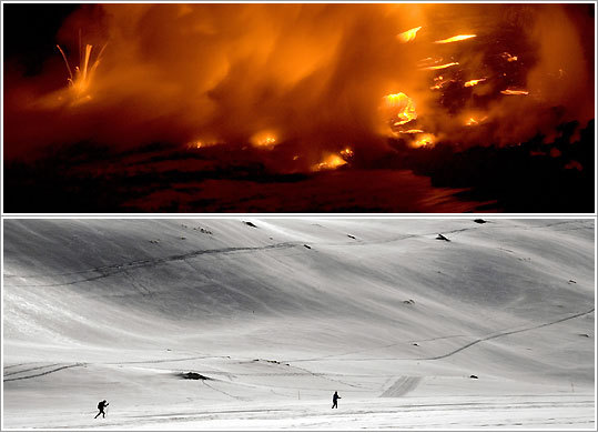Top: Lava hits the Pacific Ocean from the Kilauea volcano in Hawaii; skiers on a frozen swath of Gemmi Pass in Switzerland.