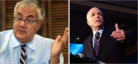 Representative Barney Frank (left) and Senator John McCain argue the government should buy up troubled loans instead of waiting for lenders to figure out how to fix them.