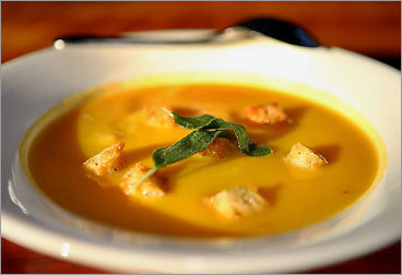 Pumpkin and Sweet Potato soup with sage croutons