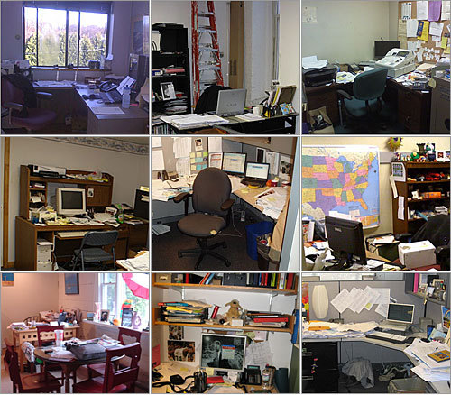 Is your office a disorganized mess? Do you need professional help to get your workplace in working order? These are the questions we asked Boston.com readers, and we got many pleas for help. The following nine readers were chosen as finalists to get an office space makeover, courtesy of Boston Globe Media and professional organizer Denise King of Clear the Clutter and refinedesign . View the finalists' photos, and then see who received the most votes . Contest rules