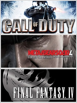 call of duty: world at war; metal gear solid 4; final fantasy iv