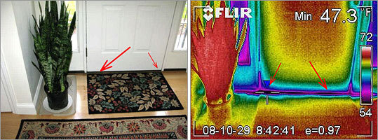 At left, in a photo provided by Apex Infrared Services, arrows point to gaps around a front door where heat loss is greatest. In the Apex infrared image at right, the gaps are indicated in blue.