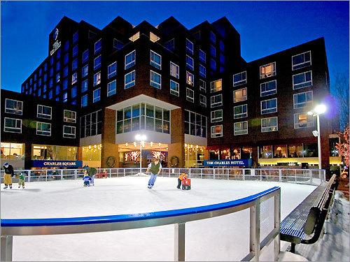Ice skating rink at the Charles Hotel