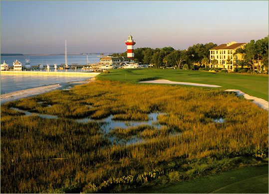 The 18th hole at Harbour Town Golf Links on Hilton Head Island, S.C. The gang of 16 in Scottsdale, Ariz., two years ago.
