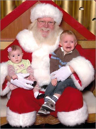 Alana of Norwalk, Conn. sent us this photo of Kyle, 2, and Nora, five months. 'Kyle gave Santa two thumbs down this year!' writes Alana.