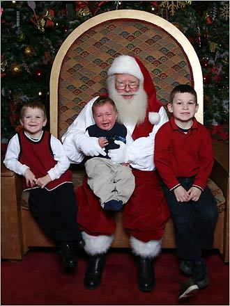 Carrie of Abington sen this photo of her three sons. 'My sons were looking forward to visiting Santa, all except the youngest (Will), who in an effort to get off of Santa – kicked his shoe right off (it's in the bottom right corner)!,' writes Carrie. 'His older brothers Ryan (trying to get as far away from Will) and Jason were a little happier!'