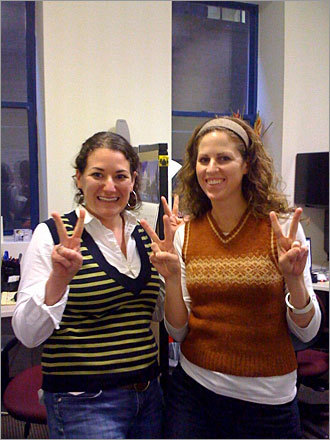 Public relations professionals Susan Ferranti and Liz Boal of Greenough Communications in Boston celebrate Vestival by flashing 'V' signs at the camera. 'Vestival is great because it's an equal opportunity celebration that doesn't involve supporting consumerism or consumption and vests make people smile,' writes Ferranti, who submitted this photo.