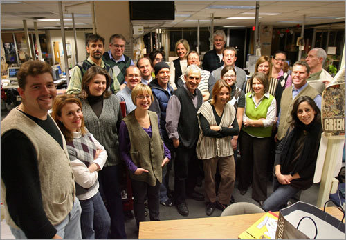 Boston Herald staffers, who agreed to pose only on condition of anonymity, Dec. 5, 2008, Boston Herald city room.