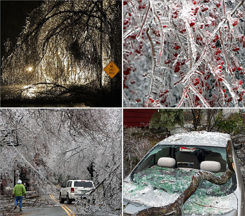 Heavy rain combined with freezing temperatures overnight to create widespread icing that downed limbs, blocked roads and knocked out power to hundreds of thousands of people in Massachusetts, New Hampshire, Vermont and Maine.