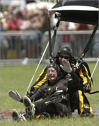 Skydiving instructor Following his presidency, George H.W. Bush, President Bush's father, celebrated his 75th and 80th birthdays by jumping out of planes. Bush, now 62, has nearly 20 years to hone his parachuting craft -- if his family history is any indication.