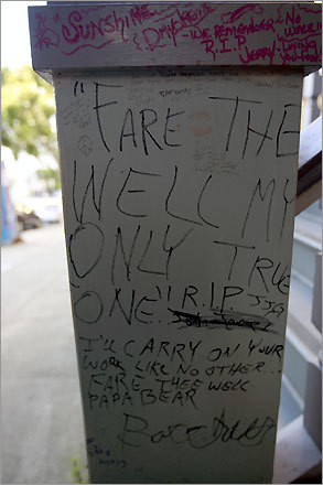 Graffiti covers on the railing on the house of Greatful Dead leadman Jerry Garcia.