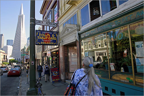 The bohemian Vesuvio Cafe is on the corner of Columbus Avenue and Jack Kerouac Alley in the shadow of the Transamerica Pyramid. Kerouac and Dylan Thomas drank at Vesuvio, and it's where Francis Ford Coppola wrote much of the script for ''The Godfather.''