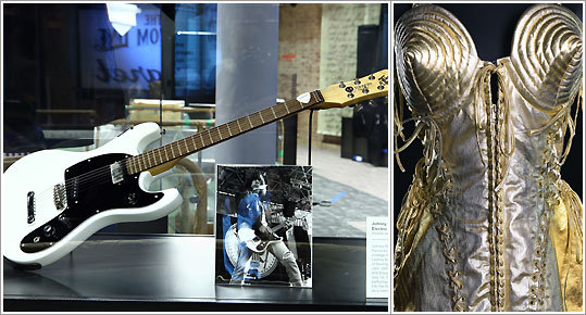 Exhibits at the Rock Hall of Fame's ANNEX NYC include a Mosrite Ventures II, the favored guitar of punk legend Johnny Ramone, and a bustier designed by Jean Paul Gaultier for Madonna.