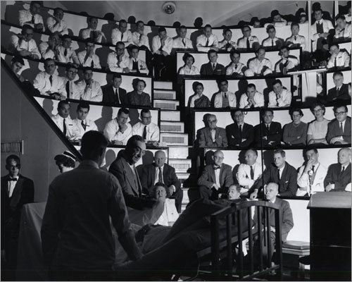 1965: A lecture in the hospital's iconic Ether Dome.