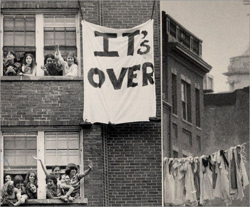 1979: Celebrating nursing school graduates strung their uniforms across Charles Street.