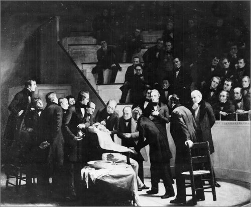 1846: The first demonstration of the use of surgical anesthesia was in the Ether Dome, the hospital's surgical amphitheater. The crowd was shocked when the patient remained quiet as the surgeon removed a tumor from his neck.