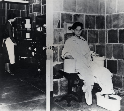 1914: A recently invented electrocardiograph machine, in the hospital basement, required a patient to keep both hands and one foot in buckets of salt water.