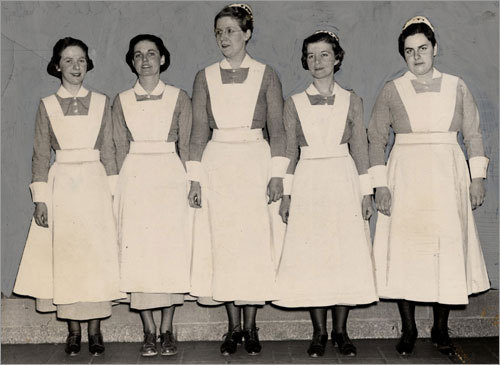 1937: Class officers from the hospital's graduating class of nurses. MGH started training nurses in 1873.