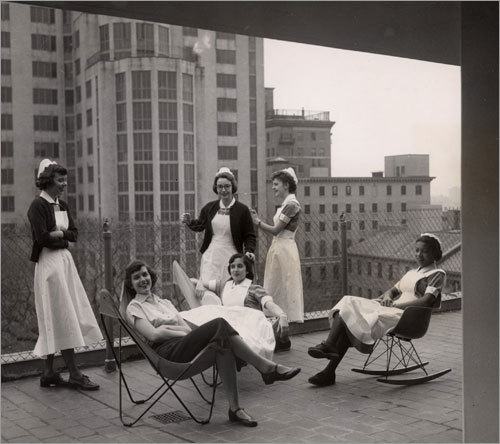 1953: Nursing school students on the roof of a new Mass. General residence hall.