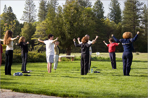 A yoga class at the Expanding Light center. The retreat hosts 2,000 guests a year.