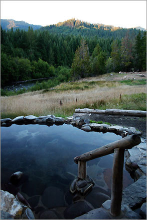 A soaking pool at Breitenbush Hot Springs Retreat and Conference Center in Oregon.