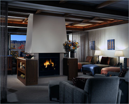 A comfortable sitting area at the spa at Stowe Mountain Lodge in Vermont.