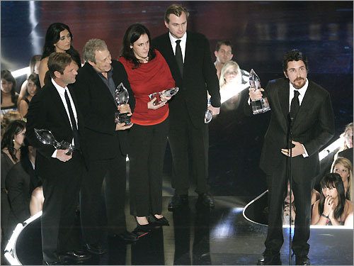 'The Dark Knight' won five awards, including favorite cast, superhero, action movie, and onscreen matchup for Christian Bale's Batman and the late Heath Ledger's Joker. The cast and crew members, actor Aaron Eckhart (far left), director Christopher Nolan (center), and Bale (far right), acknowledged their awards and their late costar. 'On behalf of all of the cast from the movie, thank you very much to the fans,' said Bale. 'Here's to Heath.'