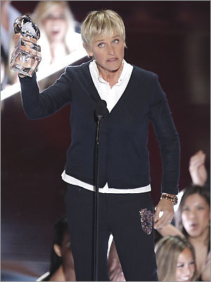 Ellen DeGeneres accepted the award for favorite talk show host at the 35th Annual People's Choice Awards on Jan. 7, 2009 in Los Angeles