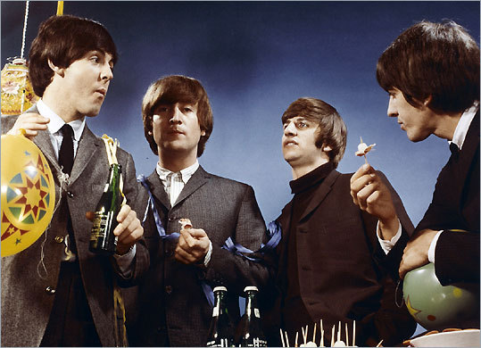 The Beatles in a chromogenic print, the photographer and date unknown, on exhibit at the Portland Museum of Art.