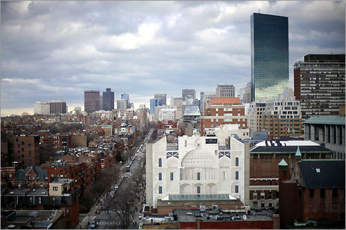 The John Hancock Tower stands like a shining monolith over downtown, with Newbury Street one of Boston's chief shopping venues.