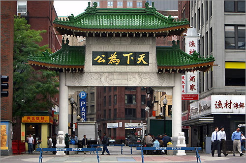 The gateway to Chinatown on Beach Street. On Sunday morning, you can't beat a dim sum breakfast in Chinatown.