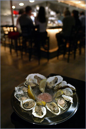 At B&G Oysters in the South End, one can chose from a dozen or two varieties of oysters in a stylish setting.
