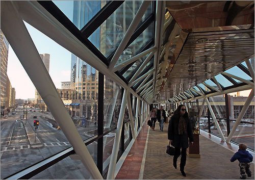 The walkway between Copley Place and the Prudential Center.